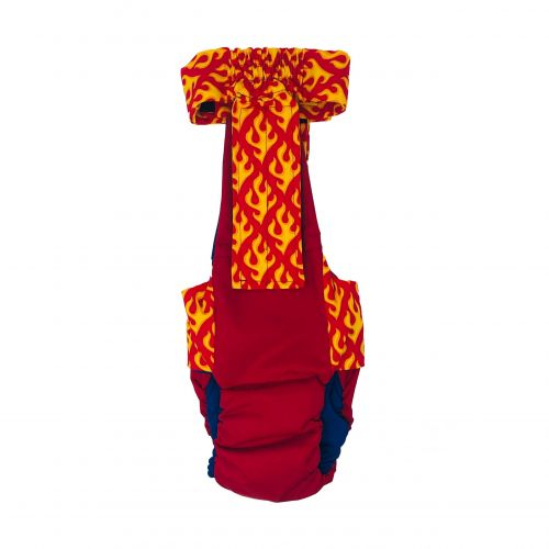 hot flames on red diaper overall - back