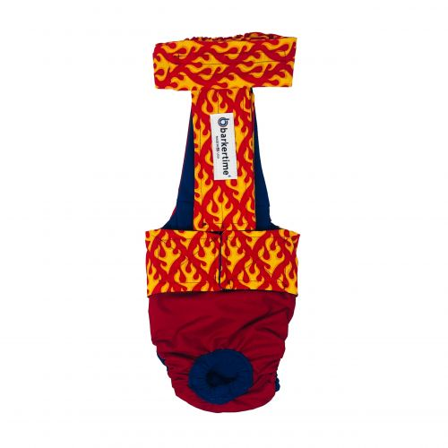 hot flames on red diaper overall