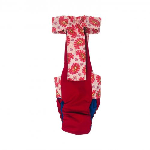 red paisley on red diaper overall - back