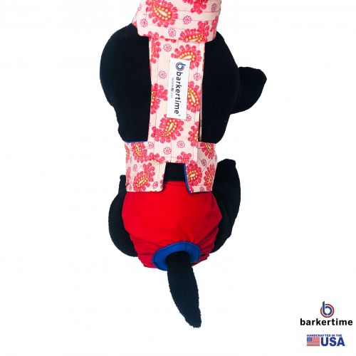 red paisley on red diaper overall - model 2