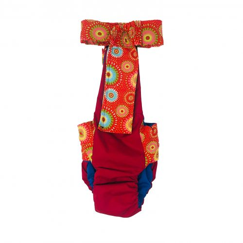 red starblast on red diaper overall - back