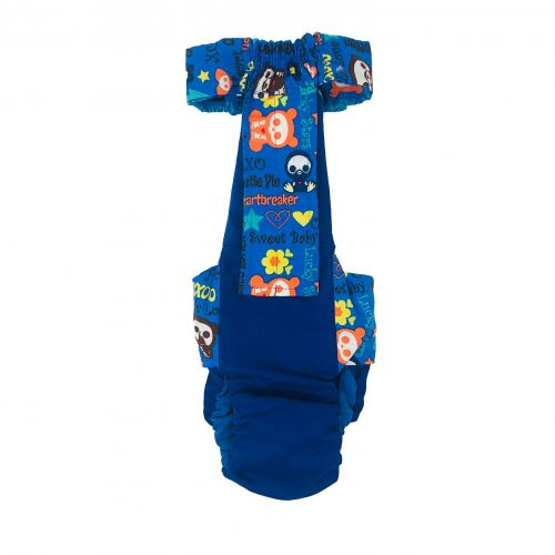 sweet baby spoiled rotten on royal blue diaper overall - back