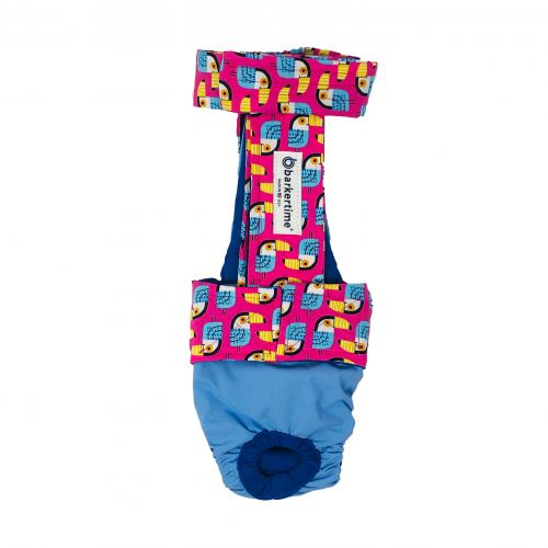 toucan on pink on baby blue diaper overall