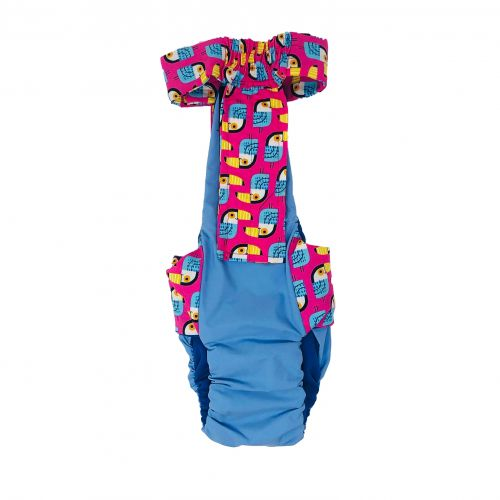 toucan on pink on baby blue diaper overall - back
