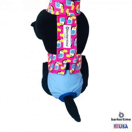toucan on pink on baby blue diaper overall - model 2