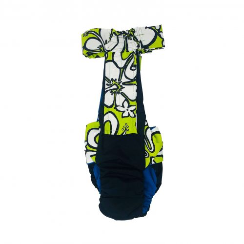 white hawaiian lime green on black diaper overall - back