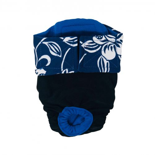 white hawaiian hibiscus blue on black premium diaper