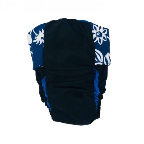white hawaiian hibiscus blue on black premium diaper - back