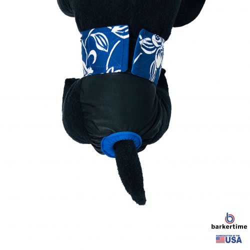 white hawaiian hibiscus blue on black premium diaper - model 2