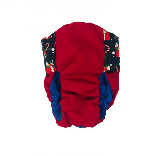 christmas presents on red diaper - back