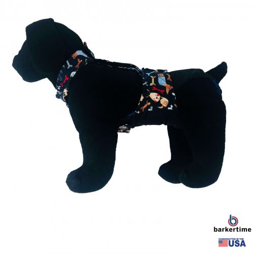 dogs and bones on black diaper overall - model 1