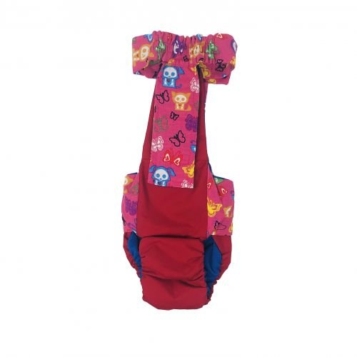 pink skeleton figures on red diaper overall - back