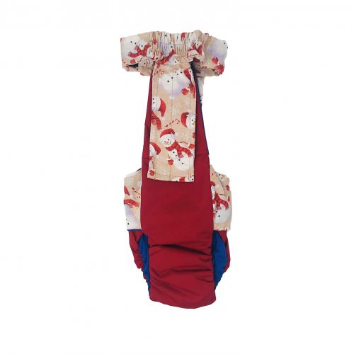 snowman on red diaper overall - back