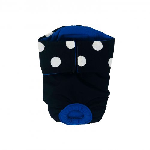 white polka on black premium diaper