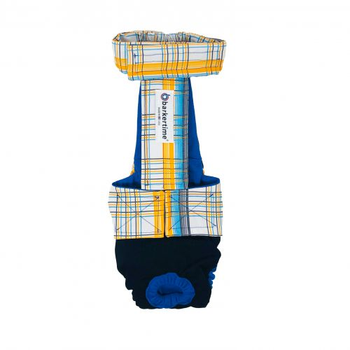 blue yellow plaid on black diaper overall