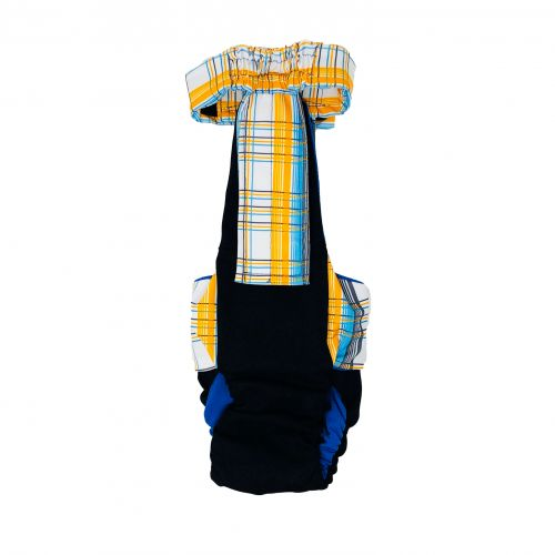 blue yellow plaid on black diaper overall - back