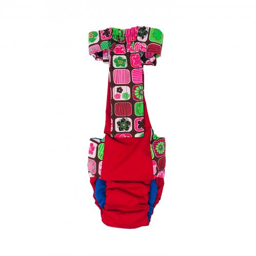 flower window on red diaper overall - back