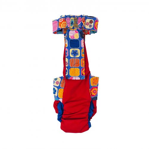 flower window purple on red diaper overall - back