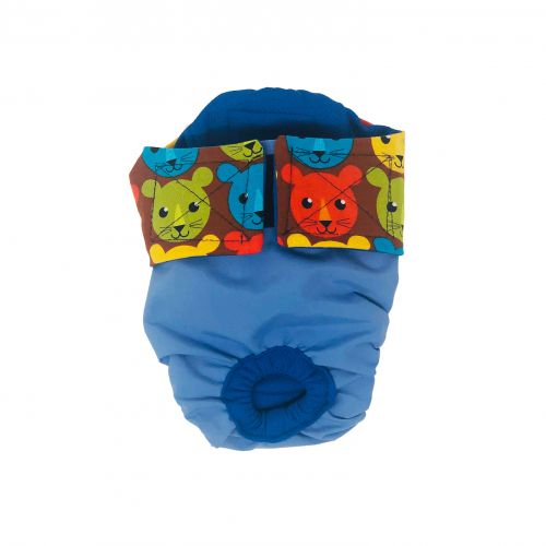 happy kitty face on blue diaper