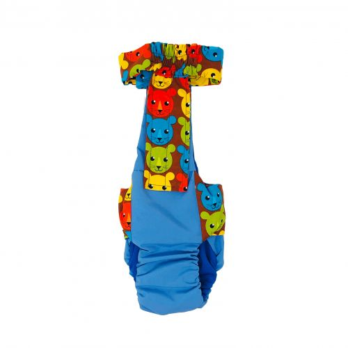 happy kitty face on blue diaper overall - back
