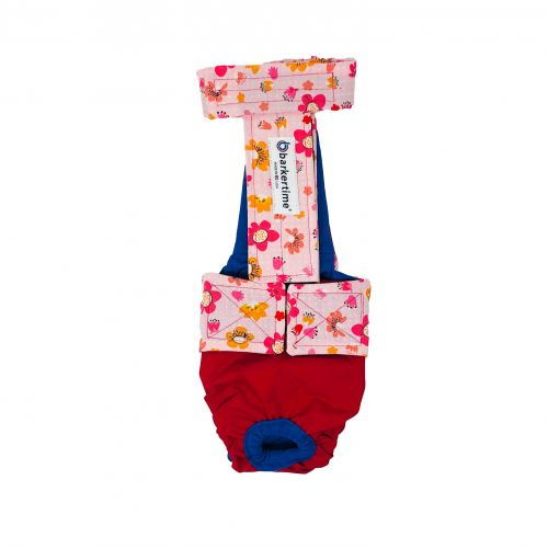 spring flower on red diaper overall