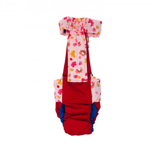 spring flower on red diaper overall - back