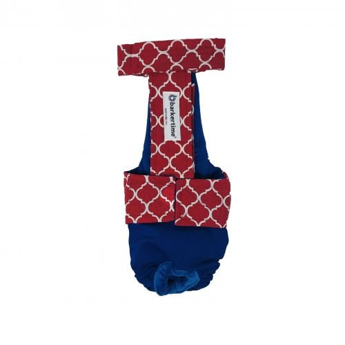 red quatrefoil on blue diaper overall