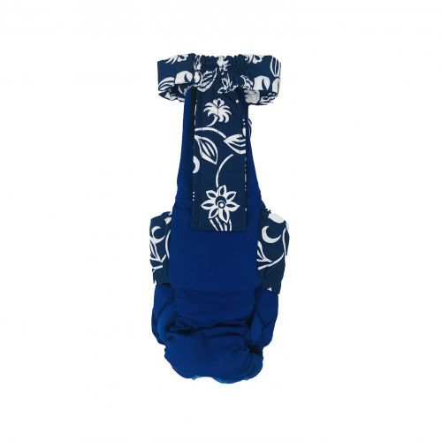 white hawaiian on blue diaper overall - back