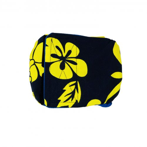 yellow hawaiian hibiscus on blue belly band