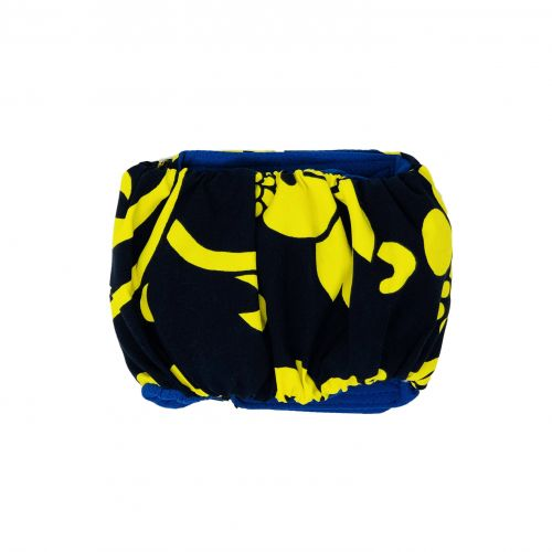 yellow hawaiian hibiscus on blue belly band - back