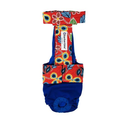 four seasons red flowers on blue diaper overall