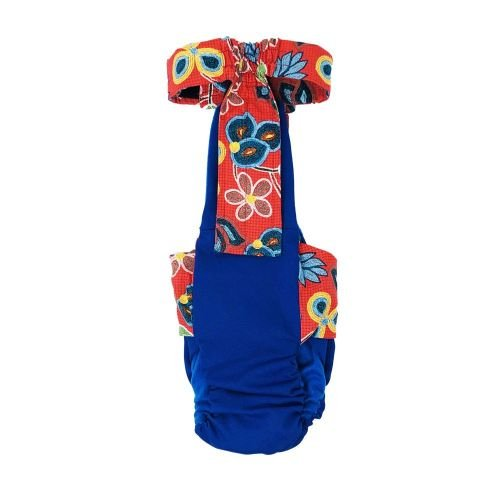 four seasons red flowers on blue diaper overall - back