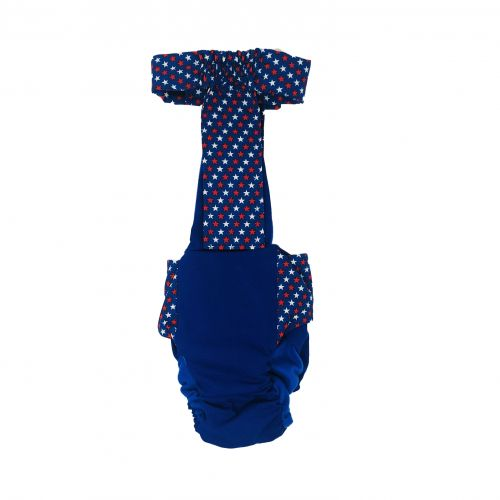 patriotic stars on blue diaper overall - back