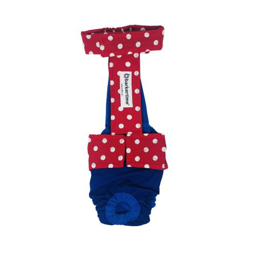 red polka dot on blue diaper overall