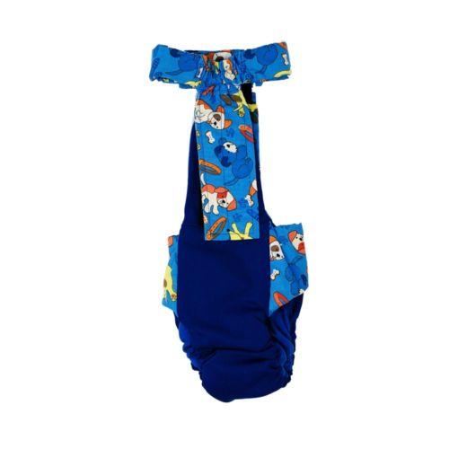 dreamy dog on blue diaper overall - back