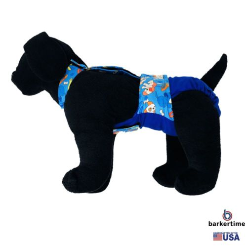 dreamy dog on blue diaper overall - model 1