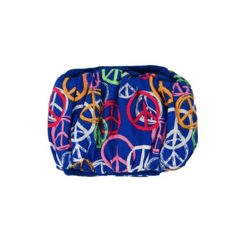 peace sign on blue belly band - back
