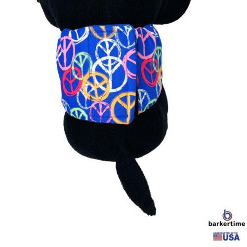 peace sign on blue belly band - model 2