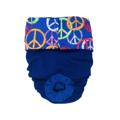 peace sign on blue diaper