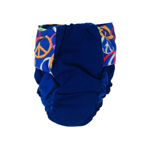 peace sign on blue diaper - back