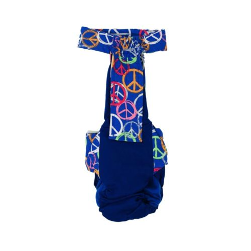peace sign on blue diaper overall - back